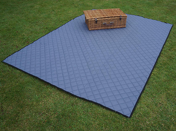 Grey Quilted Picnic Blanket