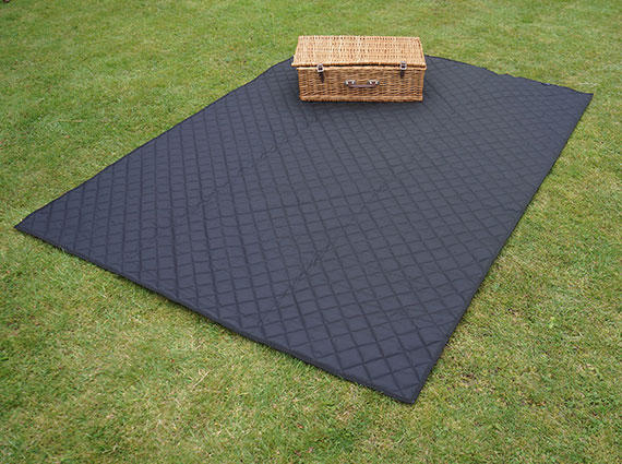 Black Quilted Picnic Blanket